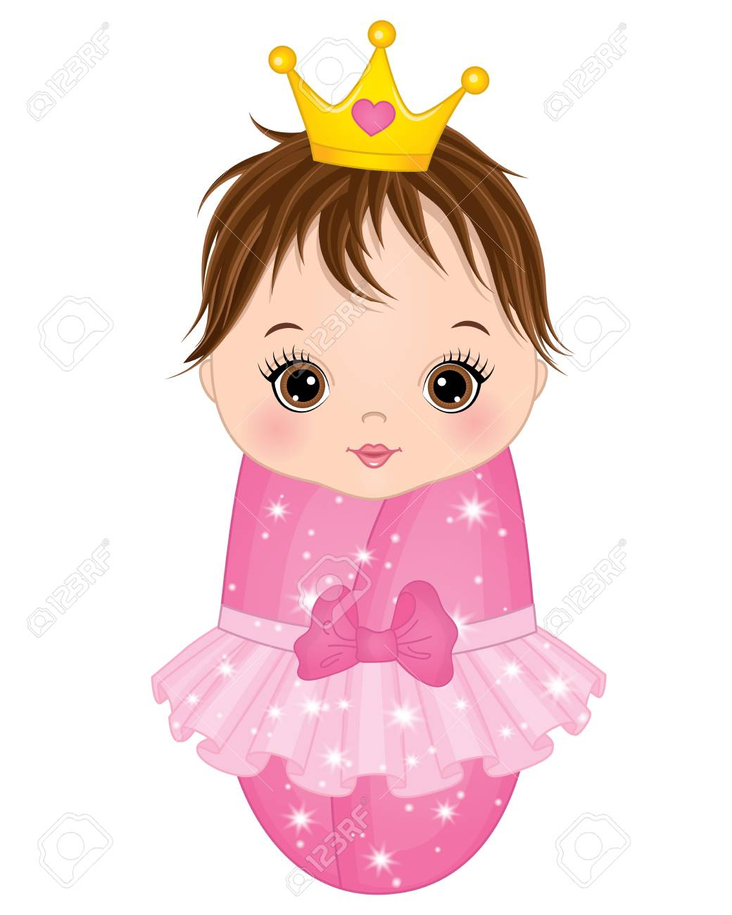 Vector cute baby girl dressed as princess on white background..
