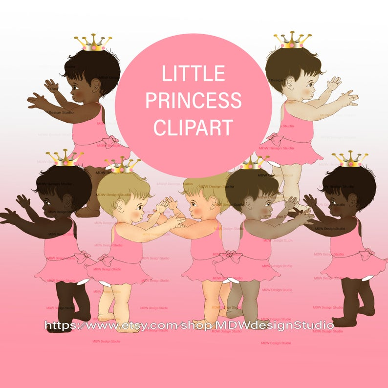PRINCESS CROWN CLIPART, pink theme, 7 skin tones, baby girl clipart,  instant download, gender reveal, first birthday, second birthday, decor.