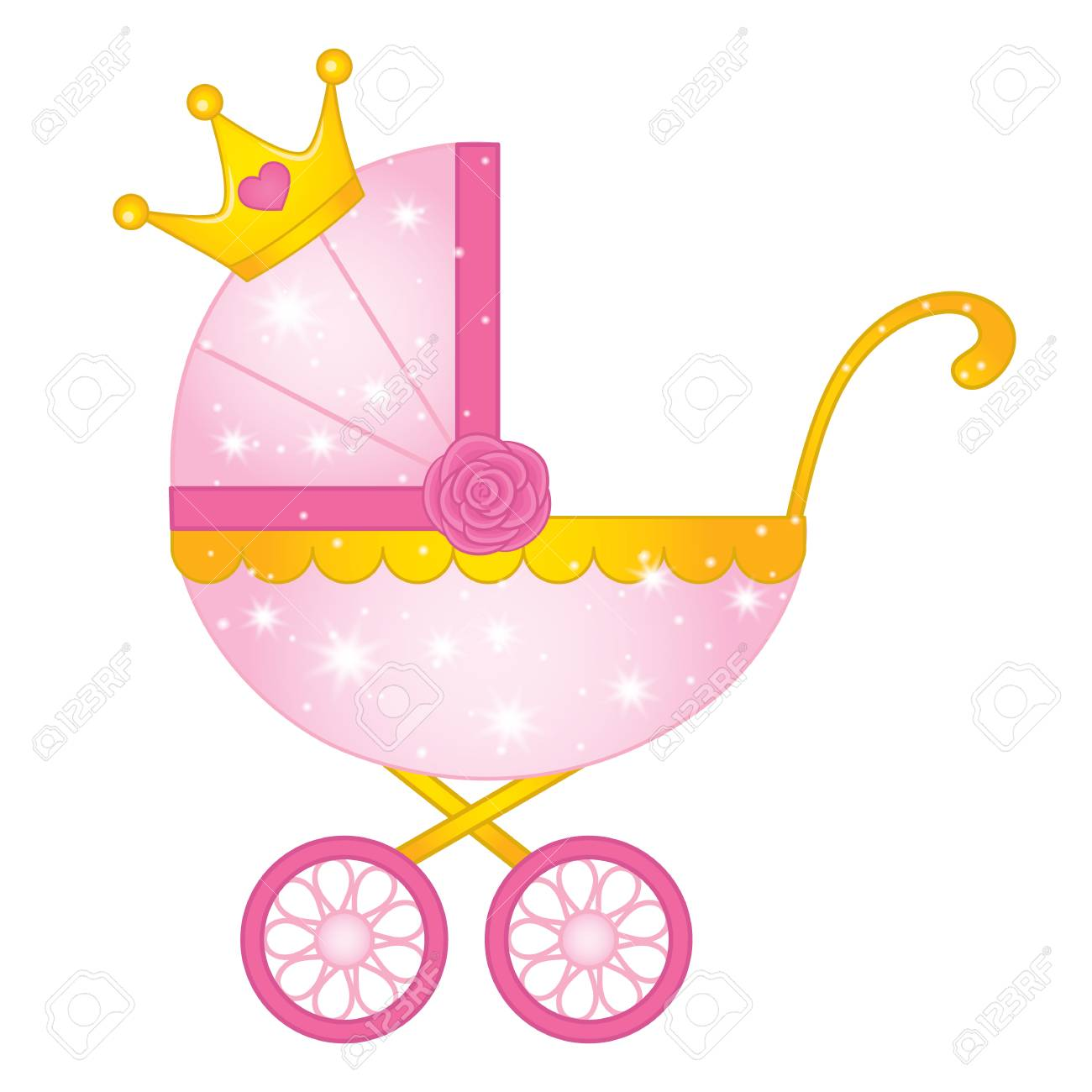 Vector stroller for princess baby girl. Vector pink and yellow...
