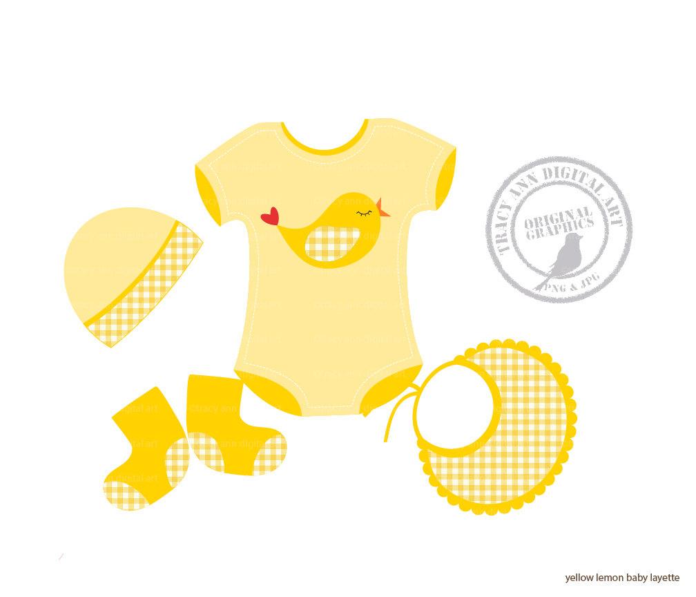 Yellow Baby Onesie Clipart.