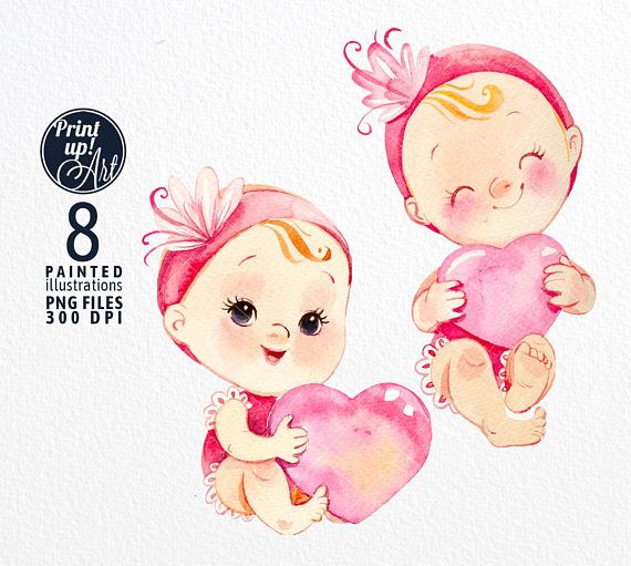 Baby Girl watercolor clipart.