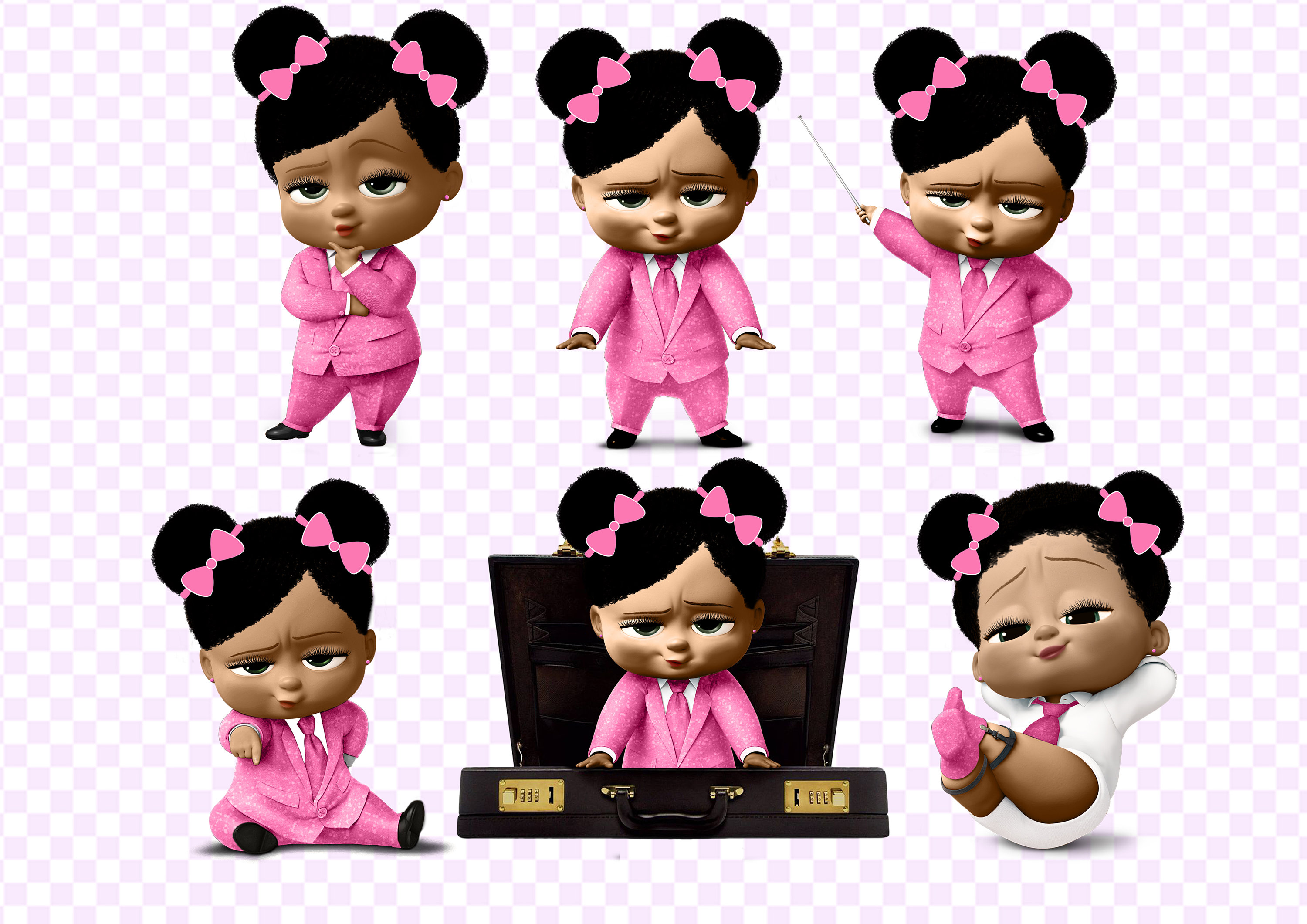 African American Boss Baby Girl PNG 300 dpi, 9 cut images on transparent  background African American Girl Boss Baby.