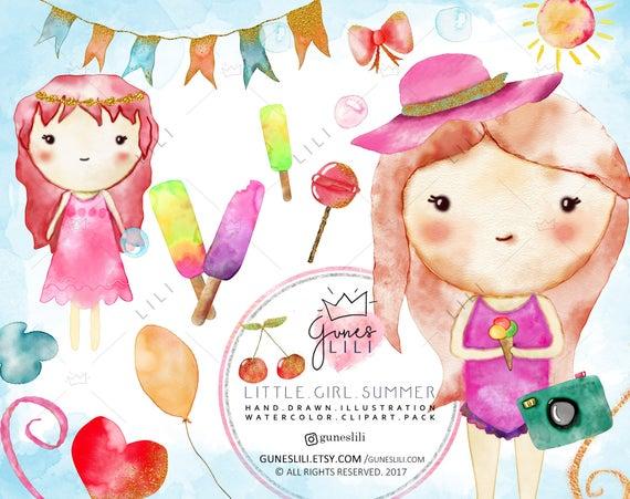 Cute Little Girl Clipart — Baby Girls PNG Digital Download Cute Kids Clip  Art Summer Beach Ice Cream Nursery GunesLili Small Commercial Use.
