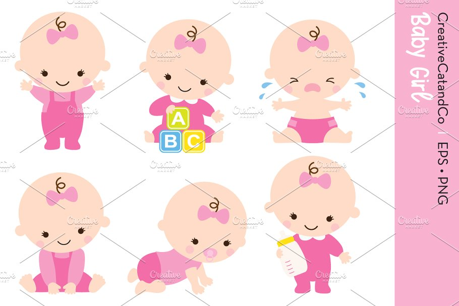 Baby Girl Set Vector and PNG.