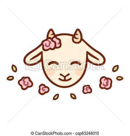 Cute cartoon baby goat.