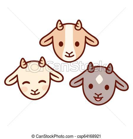 Cute baby goats set.
