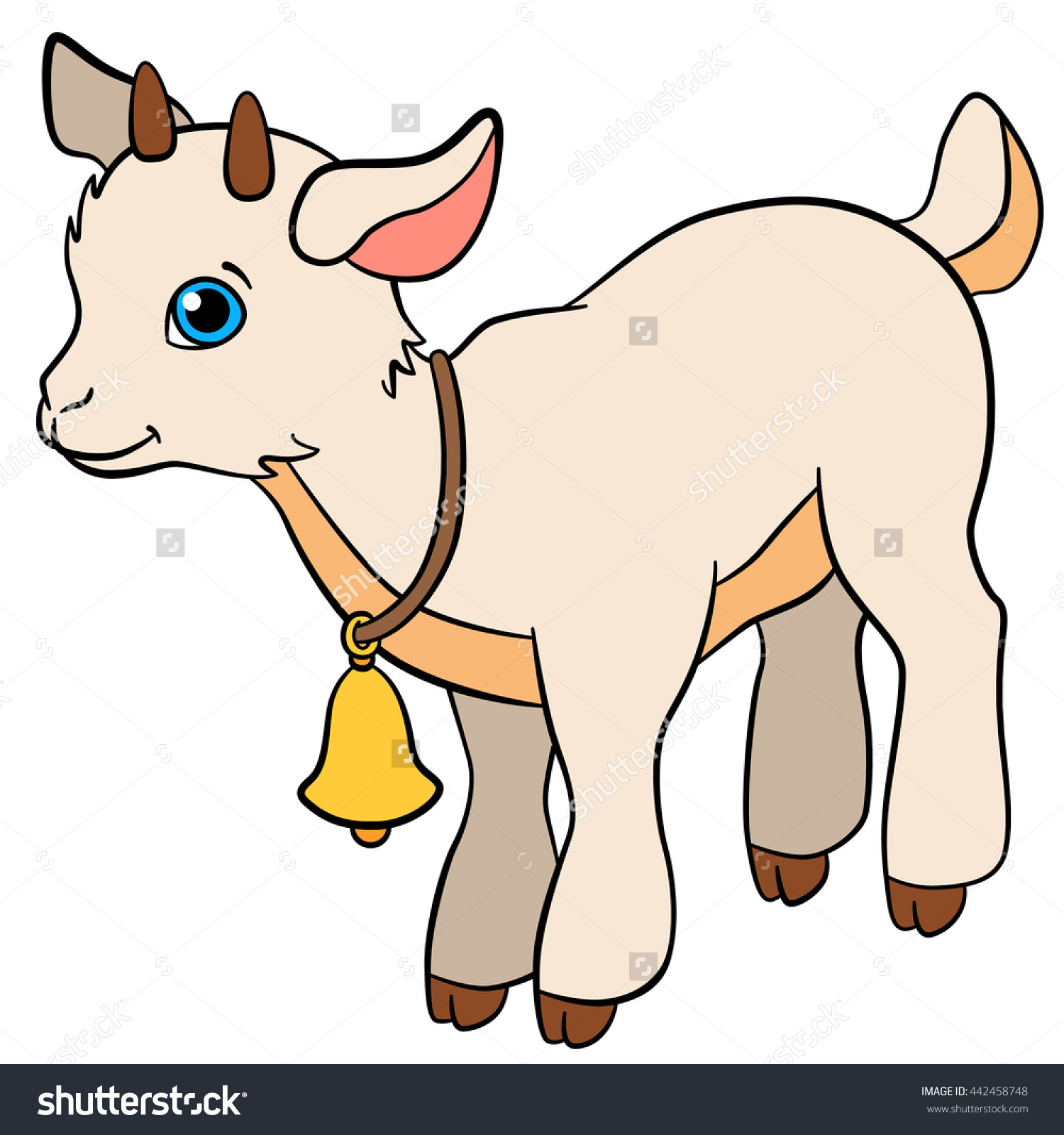 Cute baby goat clipart.