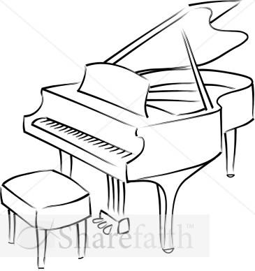 Baby Grand Piano Line Art.