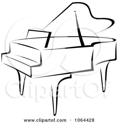Clipart Grand Piano In Black And White.
