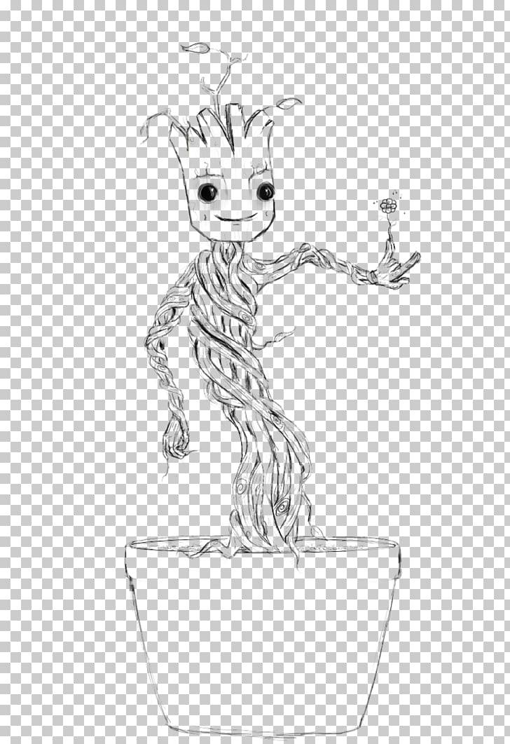 Baby Groot Rocket Raccoon Black and white Drawing, rocket.