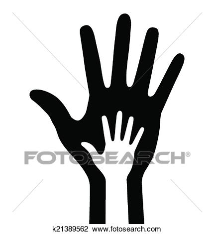 Parent and baby hand Clipart.