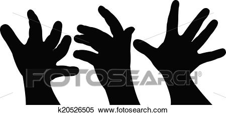 Baby hand silhouette vector Clipart.