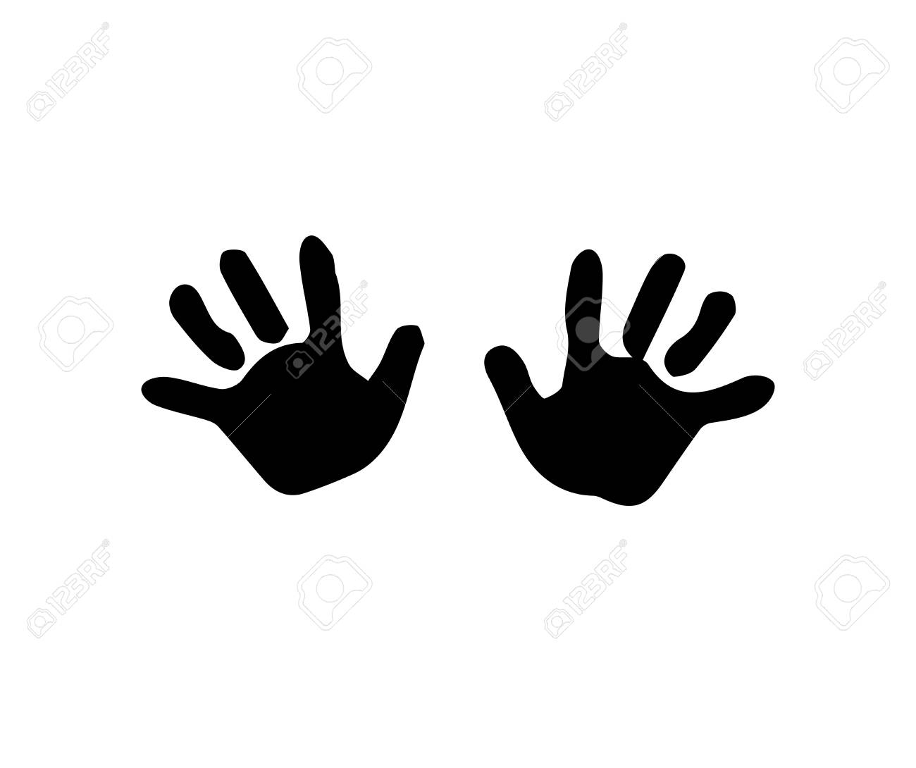 Black silhouette of baby hand prints isolated on white background.