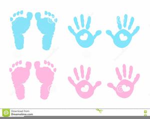 Pink Baby Handprint Clipart.