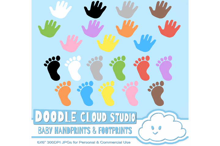 Colorful Baby FootPrints & Handprints Cliparts, Baby Hands Foot prints ,  Transparent / White Backgrounds, Instant Download, Commercial Use.