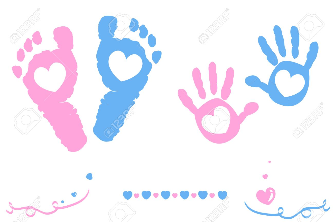 Twin baby girl and boy feet and hand print card on arrival.