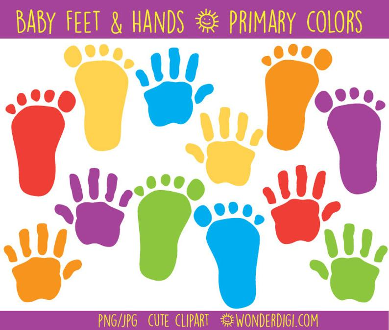 Baby Clipart Baby Foot prints and Hand prints clipart.