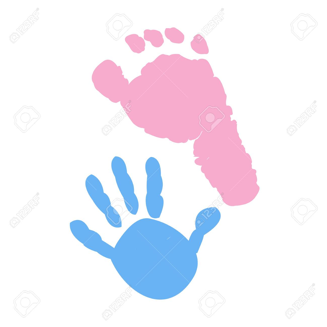 Baby foot and hand prints. Twin symbol.