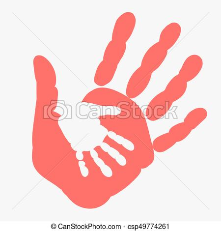 Mother and child Handprint. Palm of woman and baby.
