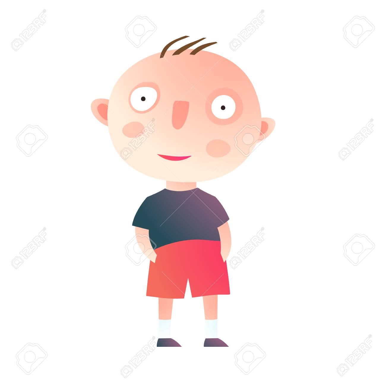 Clip art baby boy standing hands in pockets isolated. Vector...