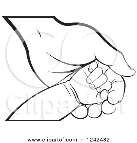 Clipart of Black and White Baby Feet and Hands.