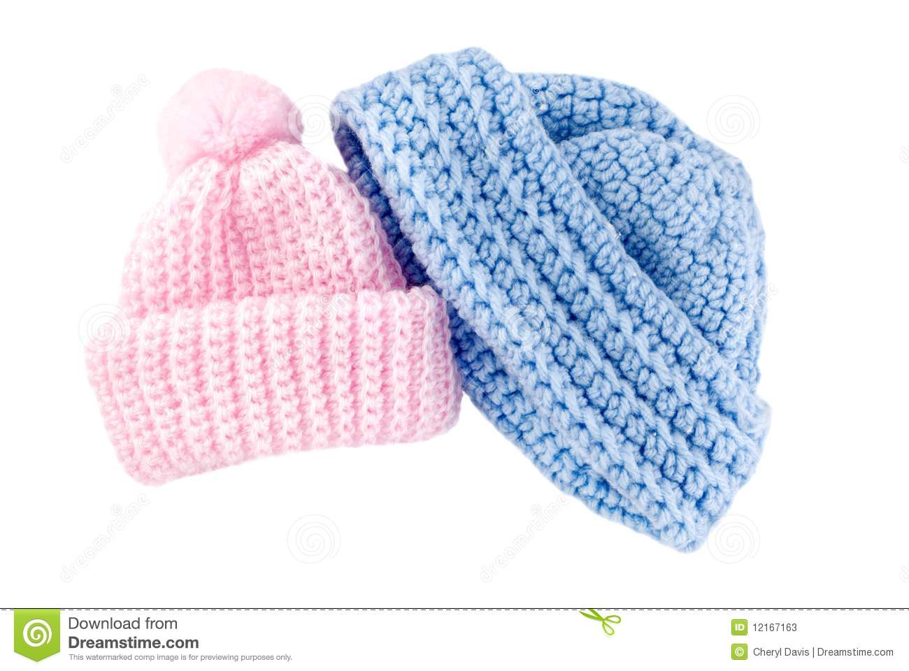 Crocheted Baby Hats For Boy And Girl Stock Image.