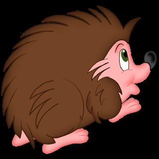 Cartoon Brown And Pink Baby Hedgehog.