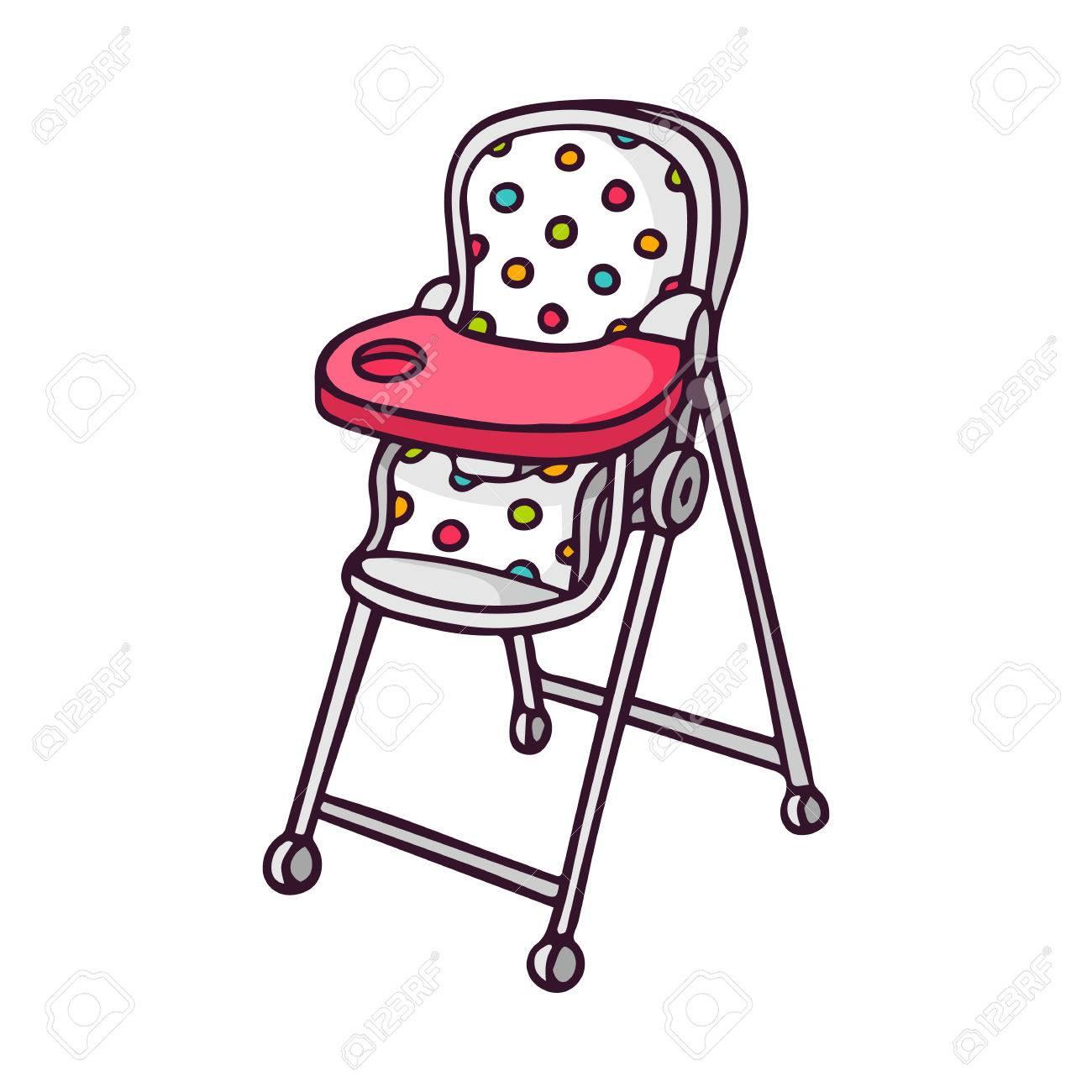 Baby feeding chair, bright vector children illustration of cute...