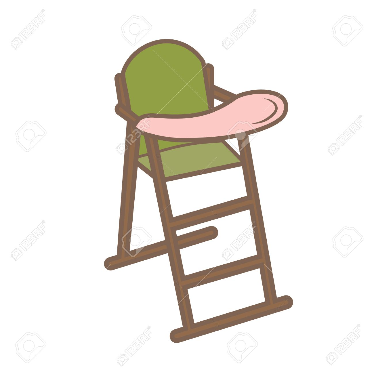 Baby high chair icon on white background. cartoon illustration.