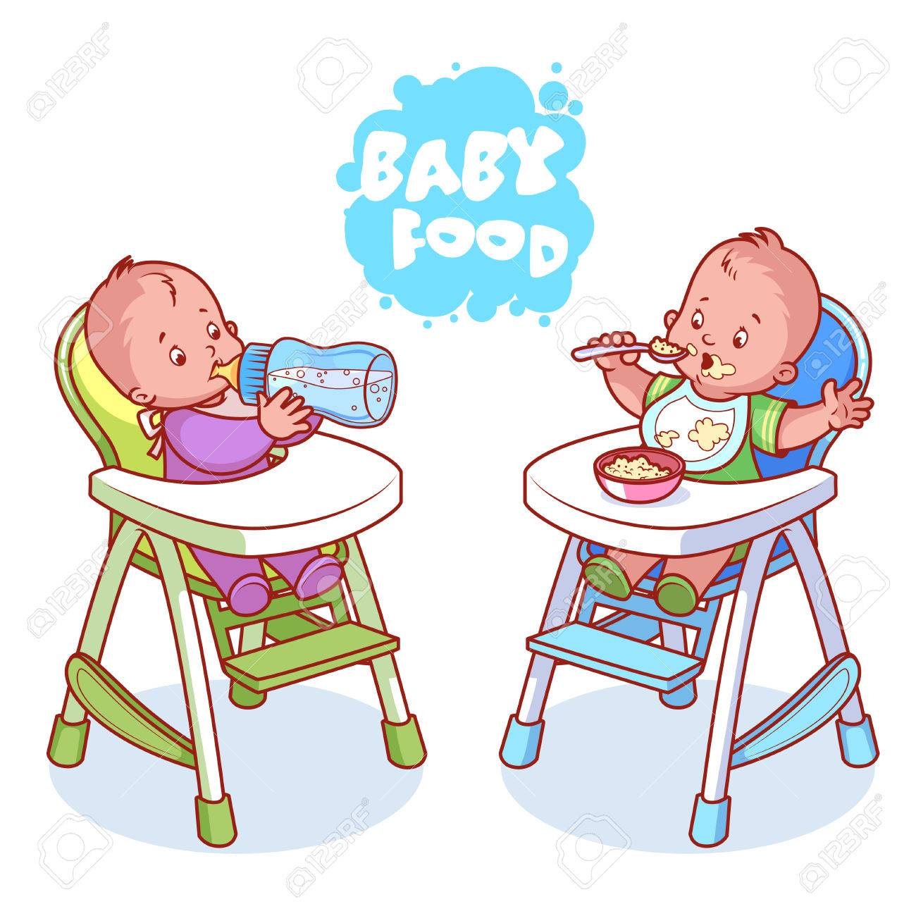 Two kids in baby highchair. Vector clip.