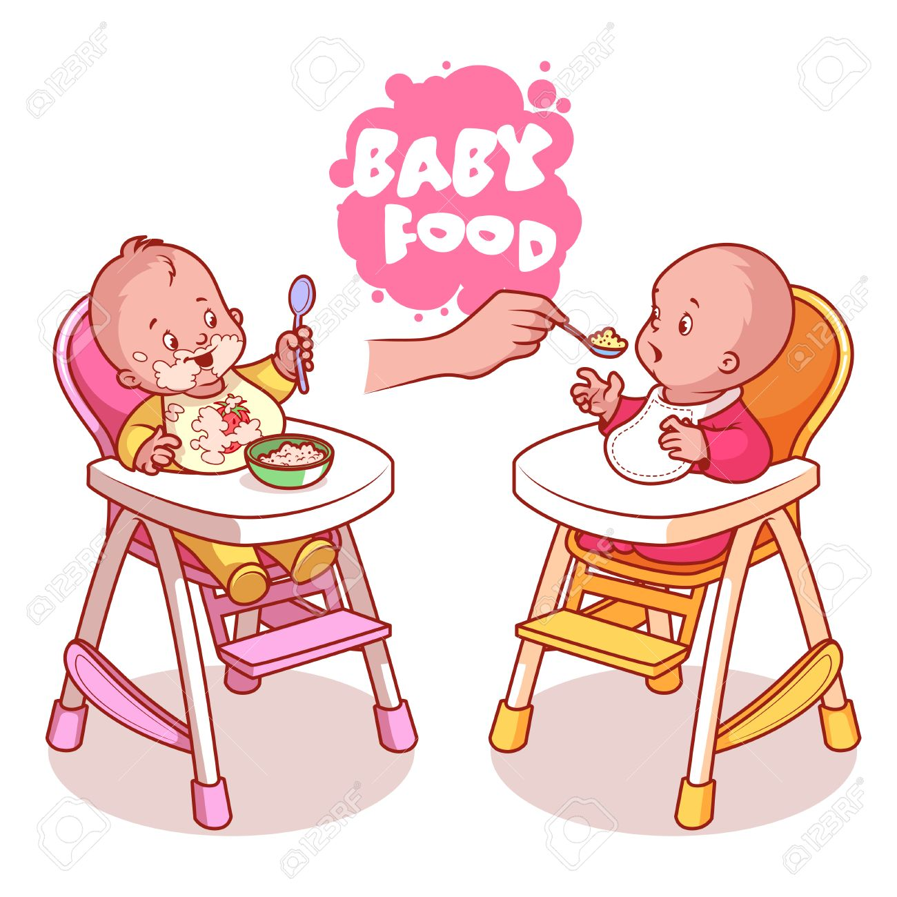 Two kids in baby highchair with plate of porridge. Vector clip.