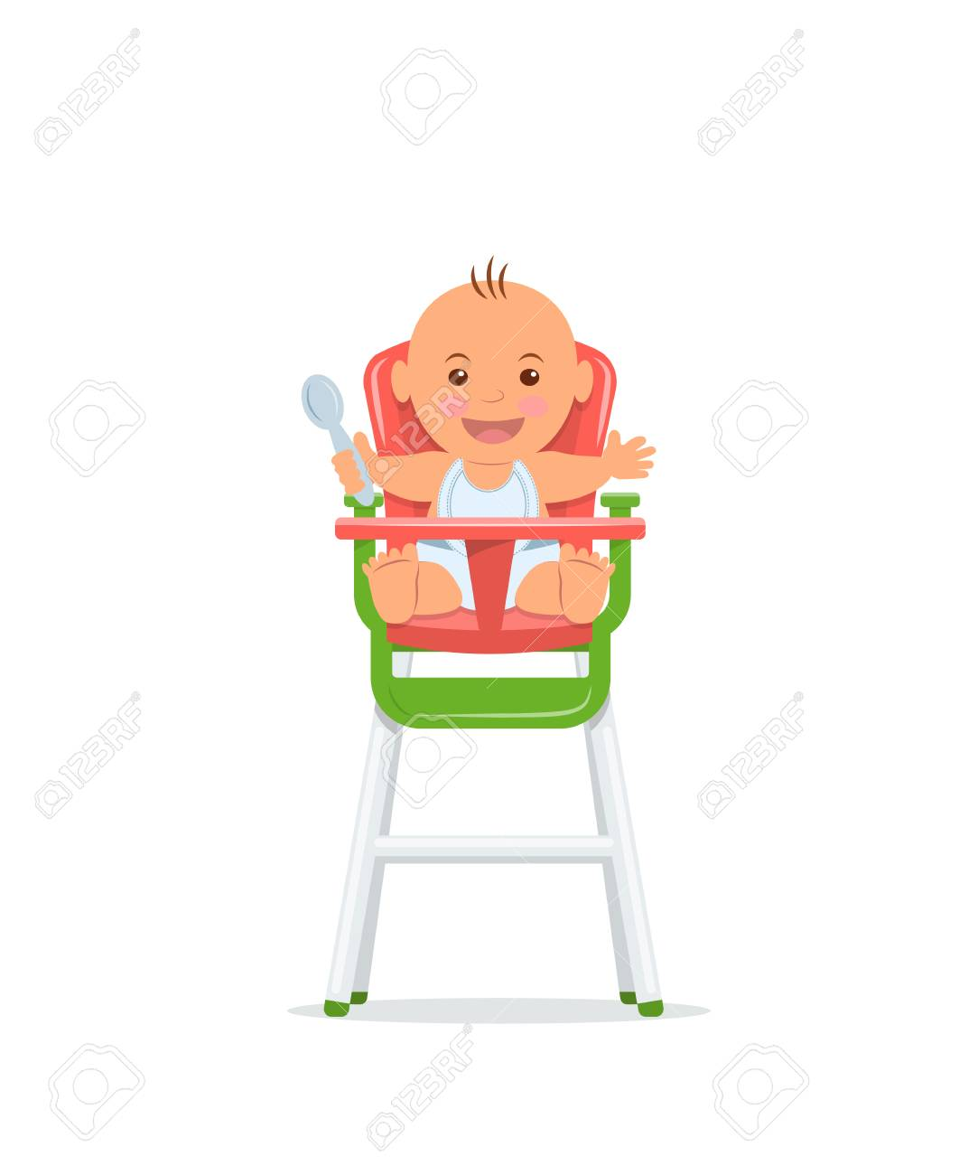 Cute baby sits on a high chair and holds a spoon. Baby healthy...