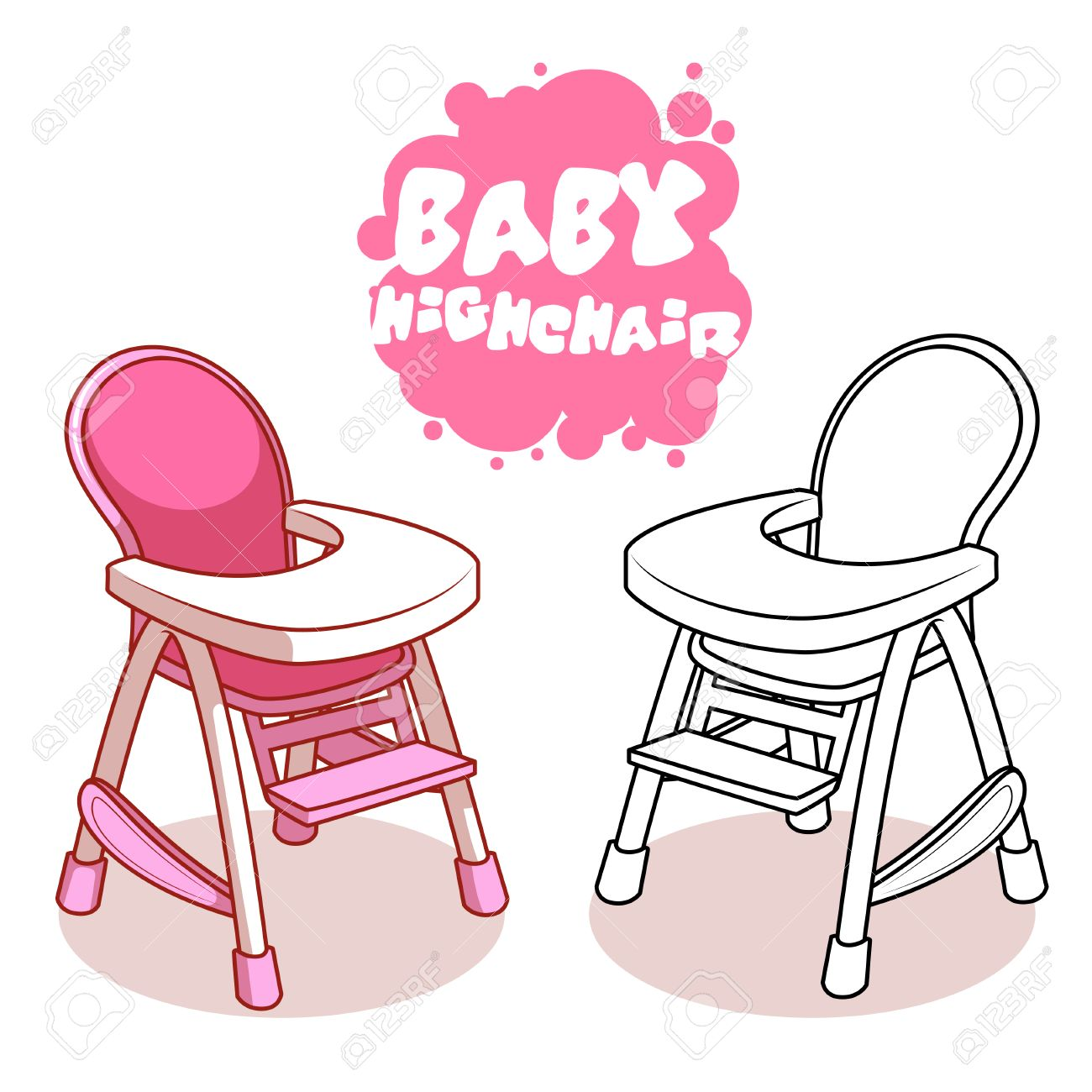 Baby Highchair isolated on white background. Vector clip.