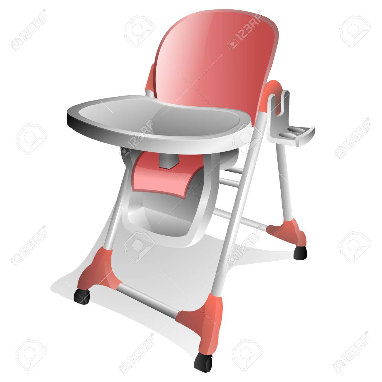 Pink and White Baby High Chair with Tray.