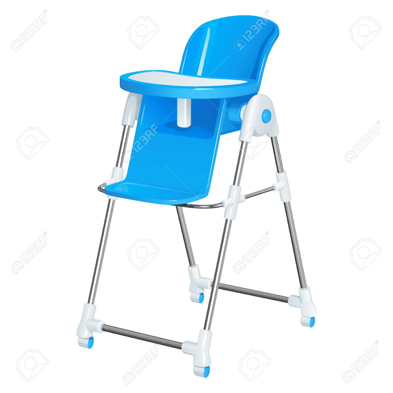 Blue baby highchair for kids feeding, with a removable table,...