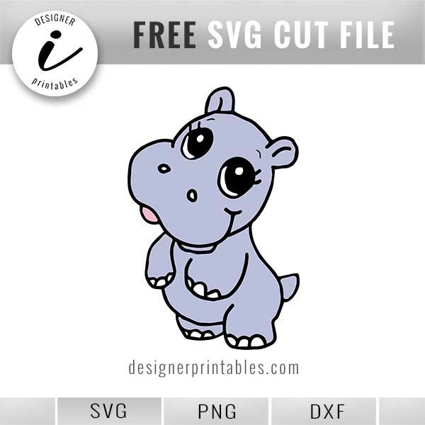 Free SVG: , Hand drawn Baby Hippo.