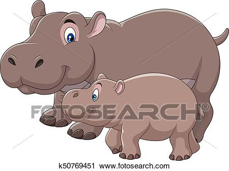 Cartoon mother and baby hippo Clipart.