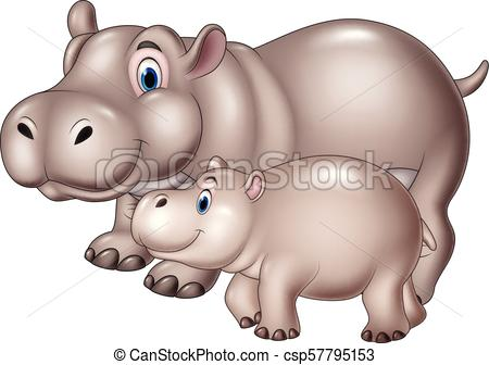 Cartoon mother and baby hippo.