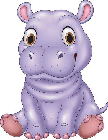 Cartoon Funny Baby Hippo Sitting premium clipart.