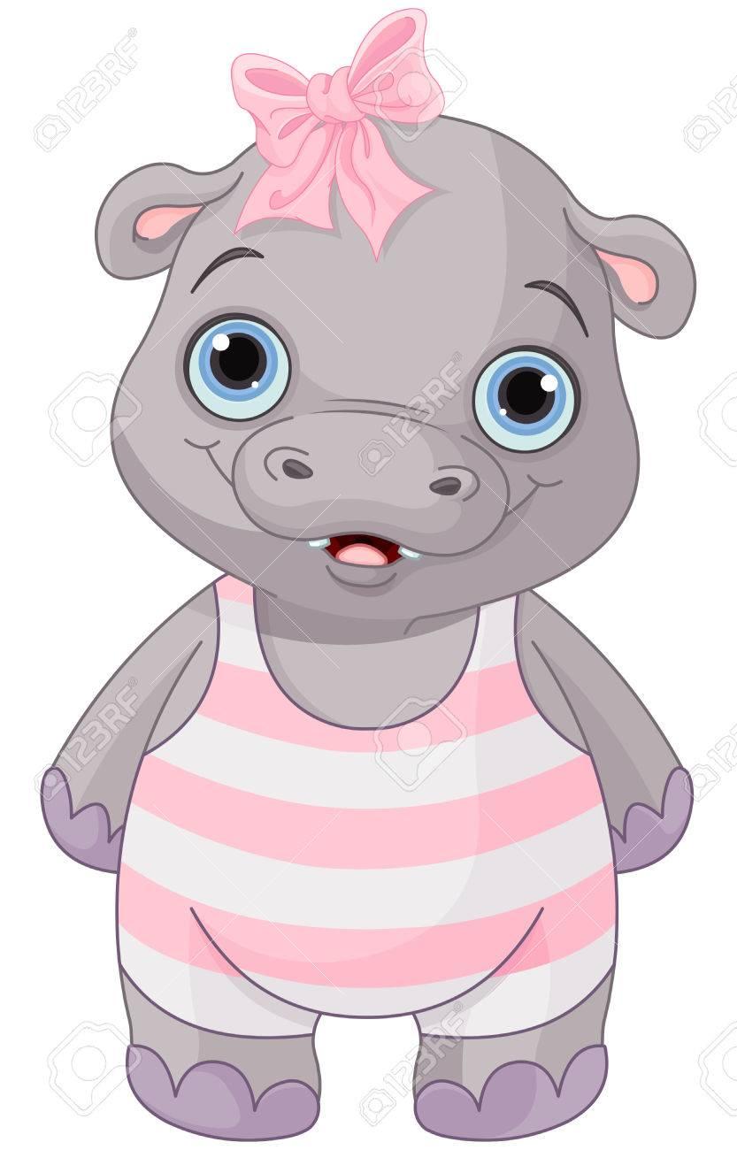 Illustration of cute baby hippo girl.