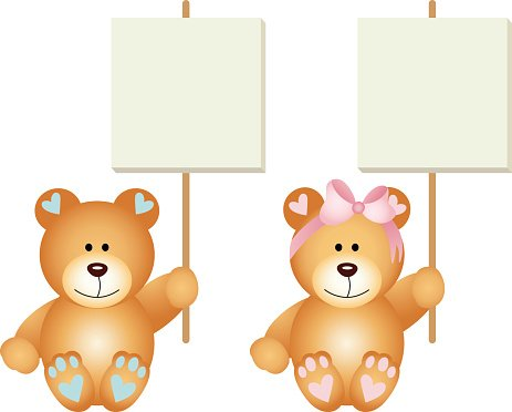 Baby teddy bears boy and girl holding a signboards Clipart.