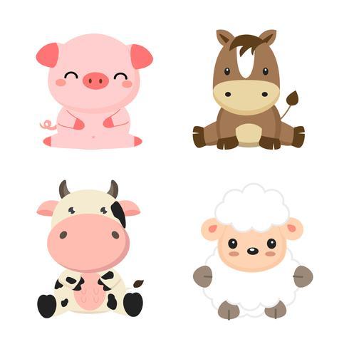 Cute farm animals cow, pig, sheep and horse..