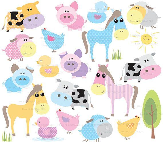 Farm Animal Clipart Baby Farm Animals Cute Pastel Horse Pig.