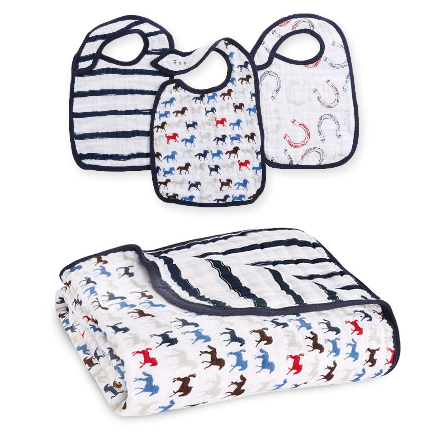 aden + anais Snap Bib and Dream Blanket Wild Horses Collection, 3 Pack Snap  Bib, 1 Dream Blanket.