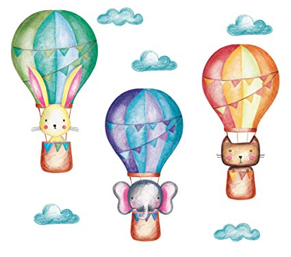 Hot Air Balloon Decal Pastel, Large Animals and Clouds Wall Decals, Baby  Nursery.