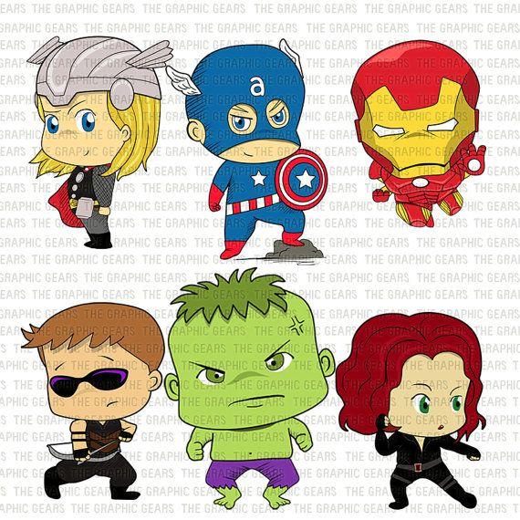 Baby Avengers Clip Art Set Avengers Heroes Clipart.