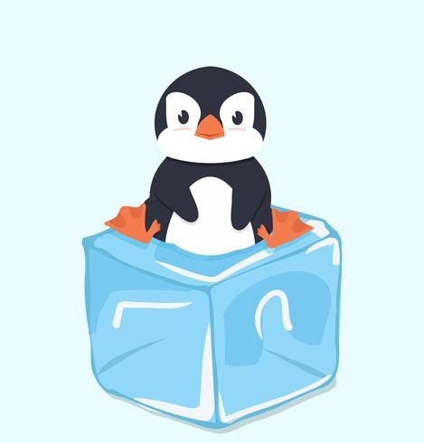 Cute Penguin on ice cube.