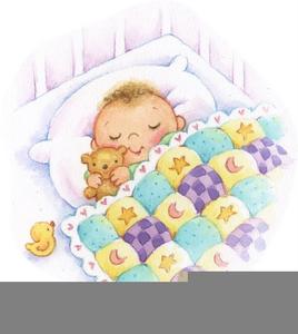 Baby Asleep In A Crib Clipart.