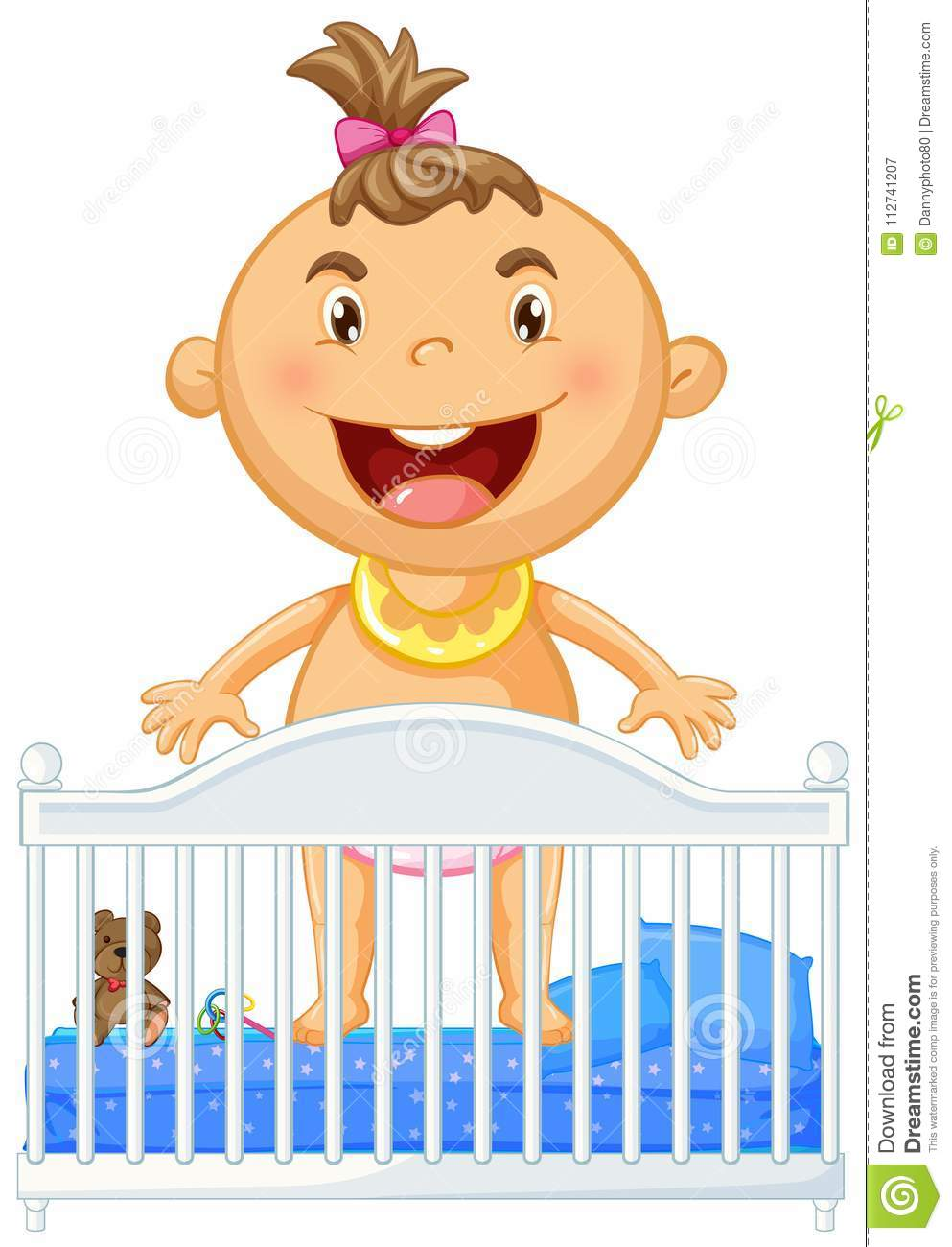 Little Baby In Crib Smiling Stock Vector.