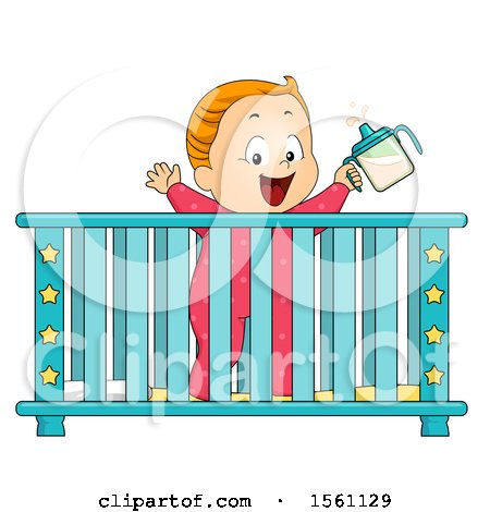 Clipart of a Toddler Baby in a Crib.
